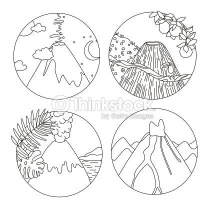 Página De Libro Para Colorear Con Volcanes Arte vectorial | Thinkstock