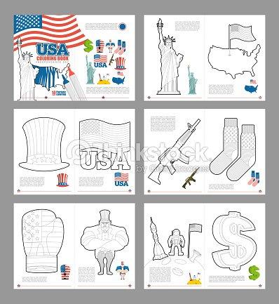 Estados Unidos Para Colorear Libro Patriótica Estadounidense Libro ...