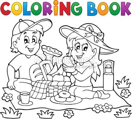Libro Para Colorear Picnic Tema 1 Arte vectorial | Thinkstock