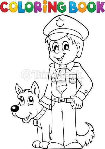 Coloriage Chien Militaire.Livre De Coloriage Avec Garde De Chien Policier Clipart Vectoriel