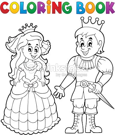 Coloring Book Princess And Prince Vector Art | Thinkstock