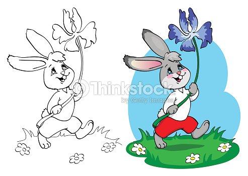 Libro Para Colorear Conejo En Pantalones Cortos Y Camisa Con Flor ...