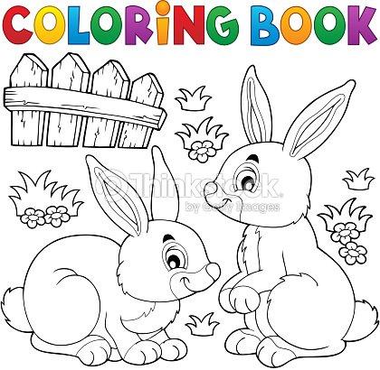 coloring book rabbit topic 1 vector art