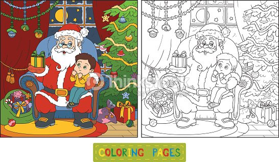 Libro Para Colorear Santa Claus Da Un Regalo De Un Niño Pequeño Arte ...