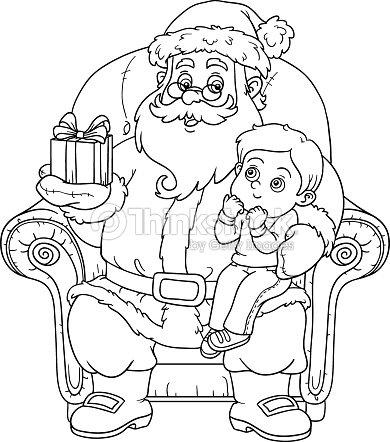 coloring book santa claus gives a gift a little boy vector art - Coloring Book Santa