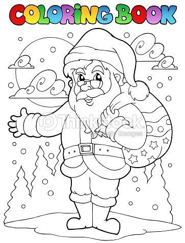 Libro Para Colorear Santa Claus Tema 1 Arte vectorial | Thinkstock