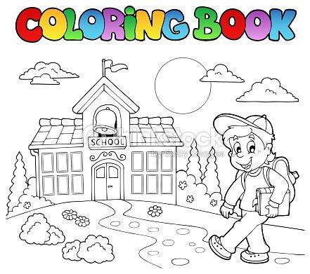 Coloring Book School Cartoons 7 Vector Art
