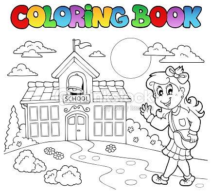 Libro Para Colorear Escuela Dibujos Animados 8 Arte vectorial ...