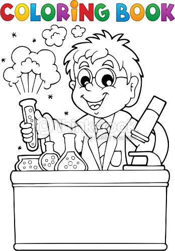 Livre de coloriage th me de l cole 1 clipart vectoriel thinkstock - Coloriage petit scientifique ...