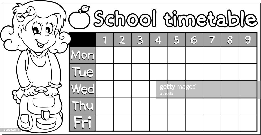 Coloring Book School Timetable 8 Vector Art – School Time Table Designs