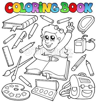 Coloriage Theme Ecole.Livre De Coloriage Theme De Lecole 1 Clipart Vectoriel Thinkstock
