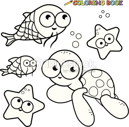 Coloring Book Sea Animals Set Vector Art
