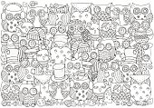 Coloring book page for adult and children.A4 size. Set of ornamental sheep.  Swirls, ringlets. Hand-drawn, doodle, vector design elements.  Herd of lambs. Farm animals. Black and white.