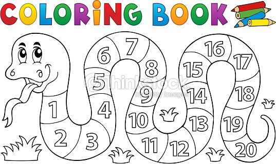 Coloring Book Snake With Numbers Theme Vector Art