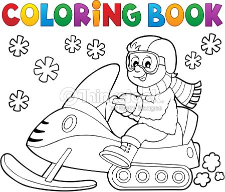 coloring book snowmobile theme 1 vector art