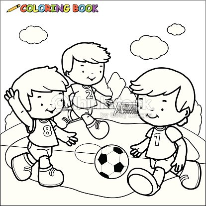 coloring book soccer kids vector art - Child Drawing Book