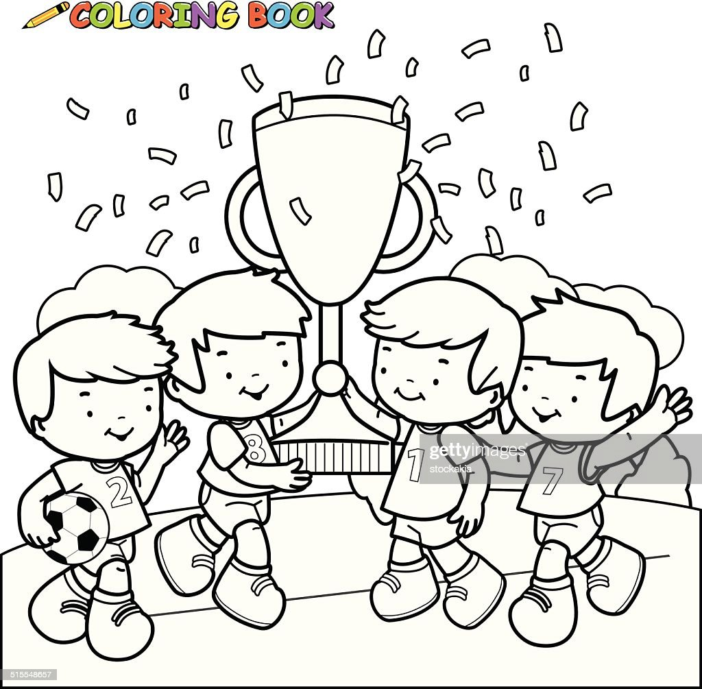 coloring book soccer kids winners vector art getty images
