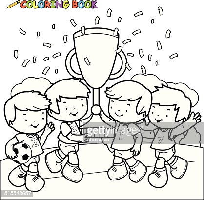 coloring book soccer kids winners vector art - Kids Painting Book