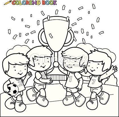 Ganadores Libro Para Colorear De Fútbol De Niños Arte vectorial ...