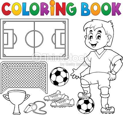 Libro Para Colorear Fútbol Tema 1 Arte vectorial | Thinkstock