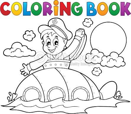 Libro Para Colorear Con Submarinos Marinero Arte vectorial | Thinkstock