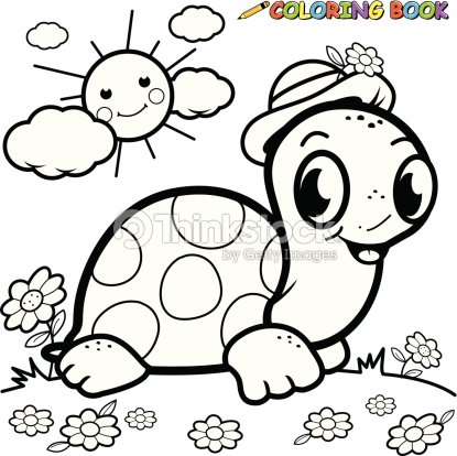 Coloring Book Turtle In Grass Vector Art | Thinkstock