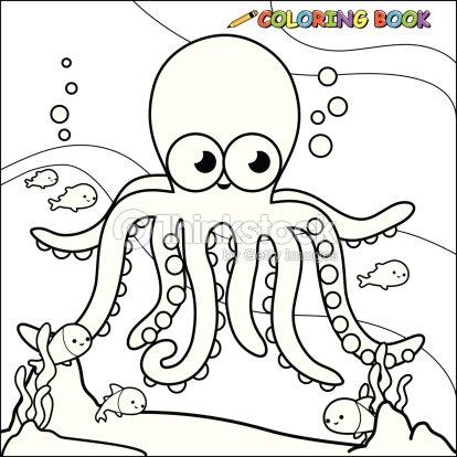 Coloring Book Underwater Octopus Vector Art