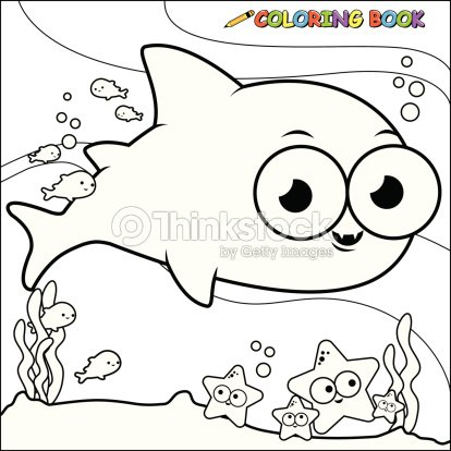 Coloring Book Underwater Shark Vector Art