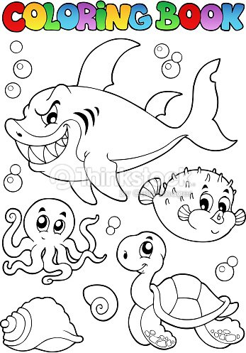 Coloring Book Various Sea Animals 1 Vector Art
