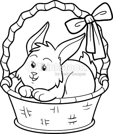 Coloring Book Rabbit In Basket