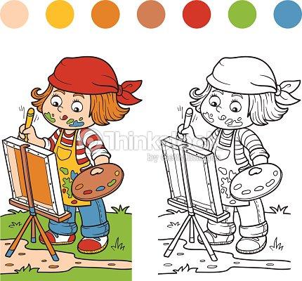 Libro Para Colorear Girl Artista Atrae En La Naturaleza Y Al Aire ...