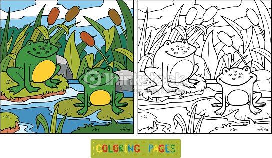 Libro Para Colorear Dos Ranas Y De Fondo Arte vectorial | Thinkstock