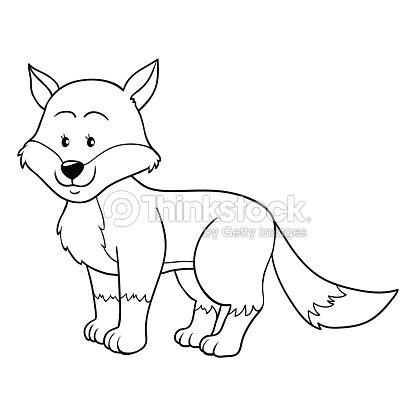coloring book fox vector art - Fox Coloring Book