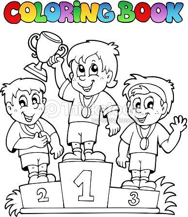 Libro para colorear podio del ganador arte vectorial - Dessin podium ...