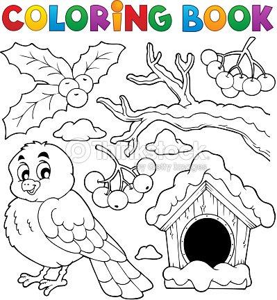 Libro Para Colorear Invierno Pájaro Tema 1 Arte vectorial | Thinkstock