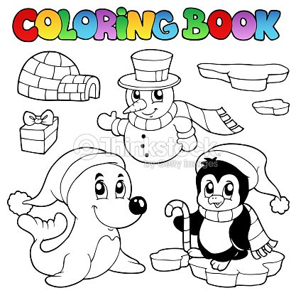 Libro Para Colorear Animales De Invierno 3 Arte vectorial | Thinkstock