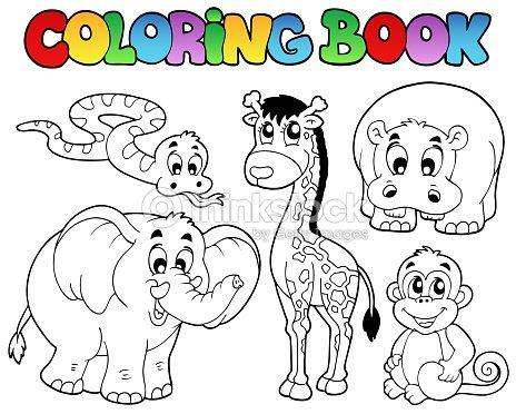 Libro Para Colorear Con Los Animales Africanos Arte vectorial ...