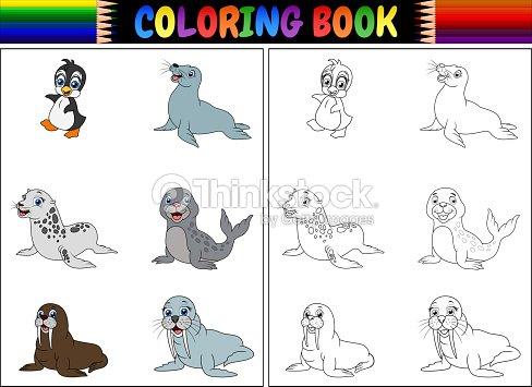 Libro Para Colorear Con La Colección De Animales Del Ártico Arte ...