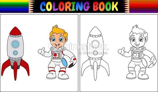 Libro Para Colorear Con Astronauta Niño Y Nave Espacial Arte ...