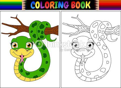 Libro Para Colorear Con Linda Serpiente Sobre Rama De árbol Arte ...