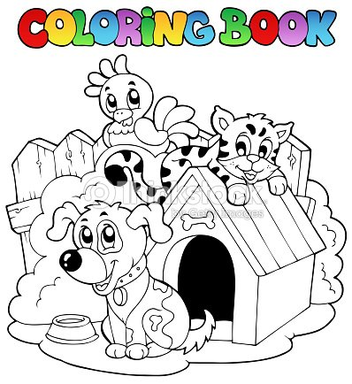 Coloring Book With Domestic Animals Vector Art