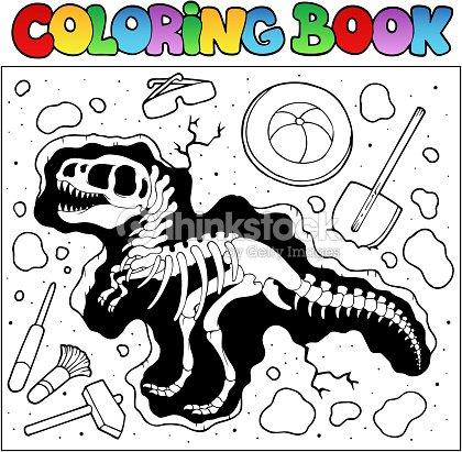 Libro Para Colorear Con El Sitio De Excavación Arte vectorial ...