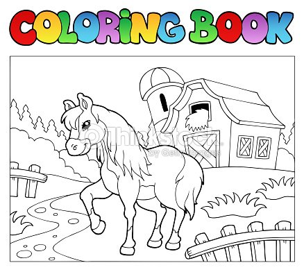 Libro Para Colorear Con Granja Y Caballo Arte vectorial | Thinkstock