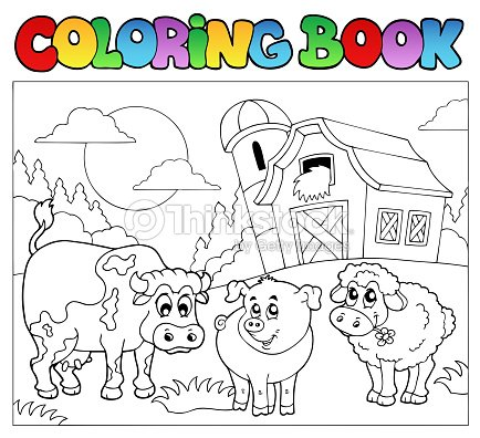 Coloring Book With Farm Animals 3 Vector Art