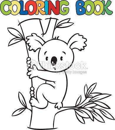 Libro Para Colorear Con Divertidos Koalas Arte vectorial | Thinkstock