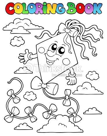 Libro Para Colorear Con Cometa 1 Arte vectorial | Thinkstock