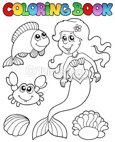 Libro Para Colorear Con Sirena Arte vectorial | Thinkstock