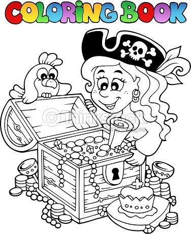 Libro Para Colorear Con Temática Pirata 5 Arte vectorial | Thinkstock