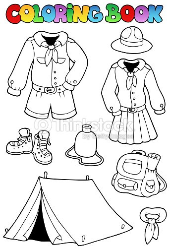 Coloring Book With Scout Clothes Vector Art