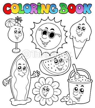 Coloring Book With Summer Pictures Stock Vector Thinkstock